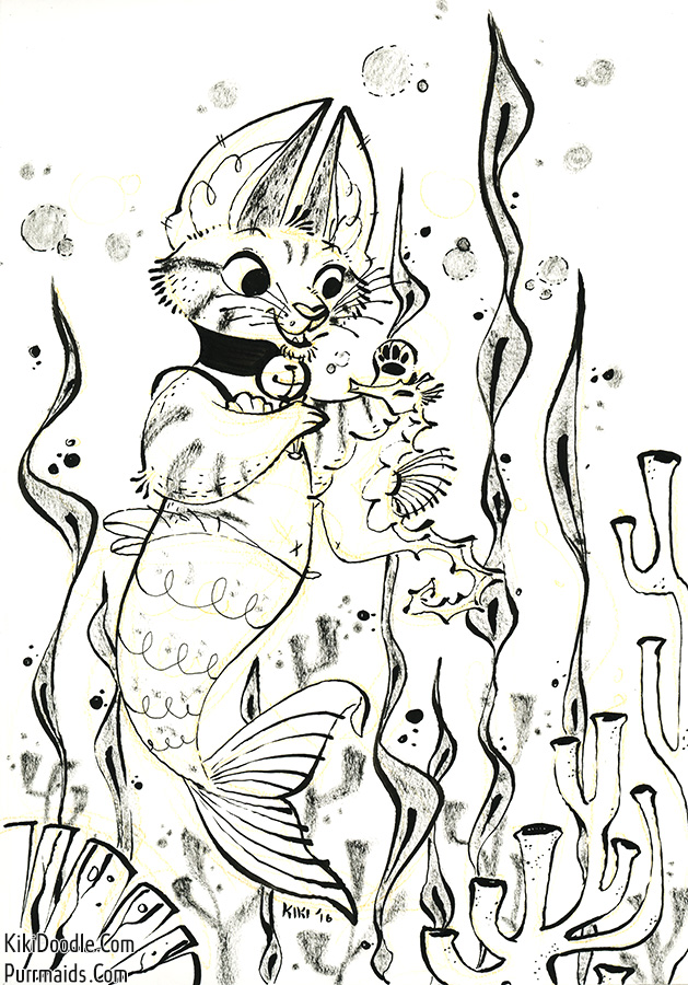 Purrmaid coloring book concept