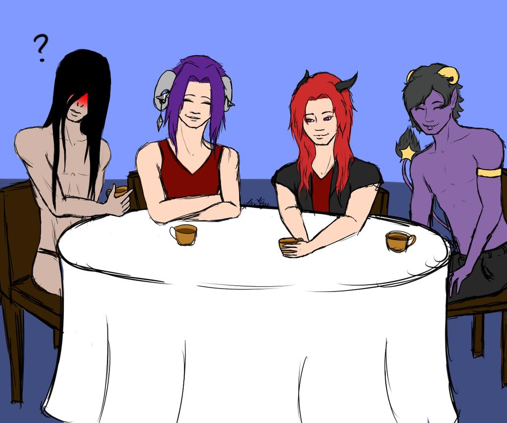 Demon tea time?, by~ LittleAmsel