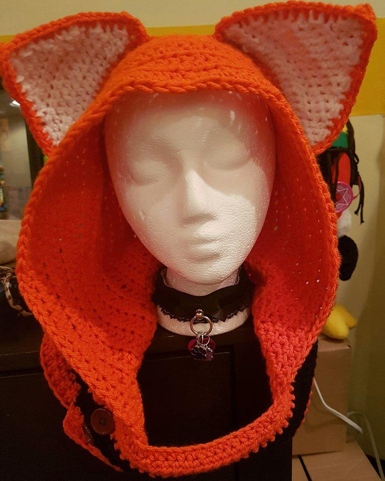 Orange fox hood with white inner ears