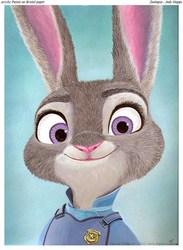 Zootopia Judy Hopps - Acrylic illustration 9 x 12