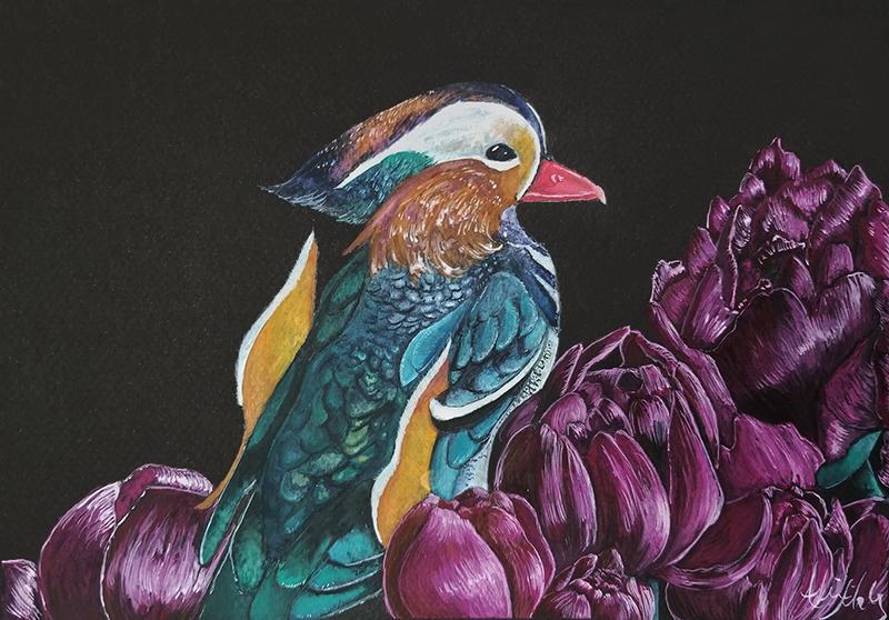 Mandarin Duck Among Peonies