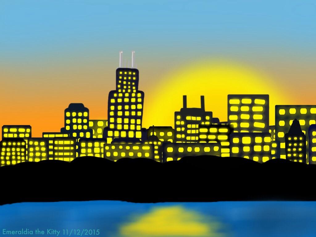 Cityscape at Sunset: Chicago Sunset