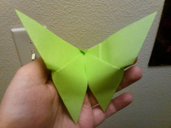light green butterfly origami