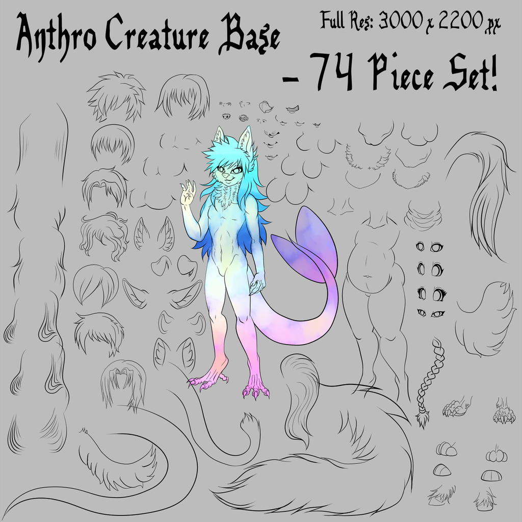 Most recent image: Anthro Creature Base PSD 74 Piece