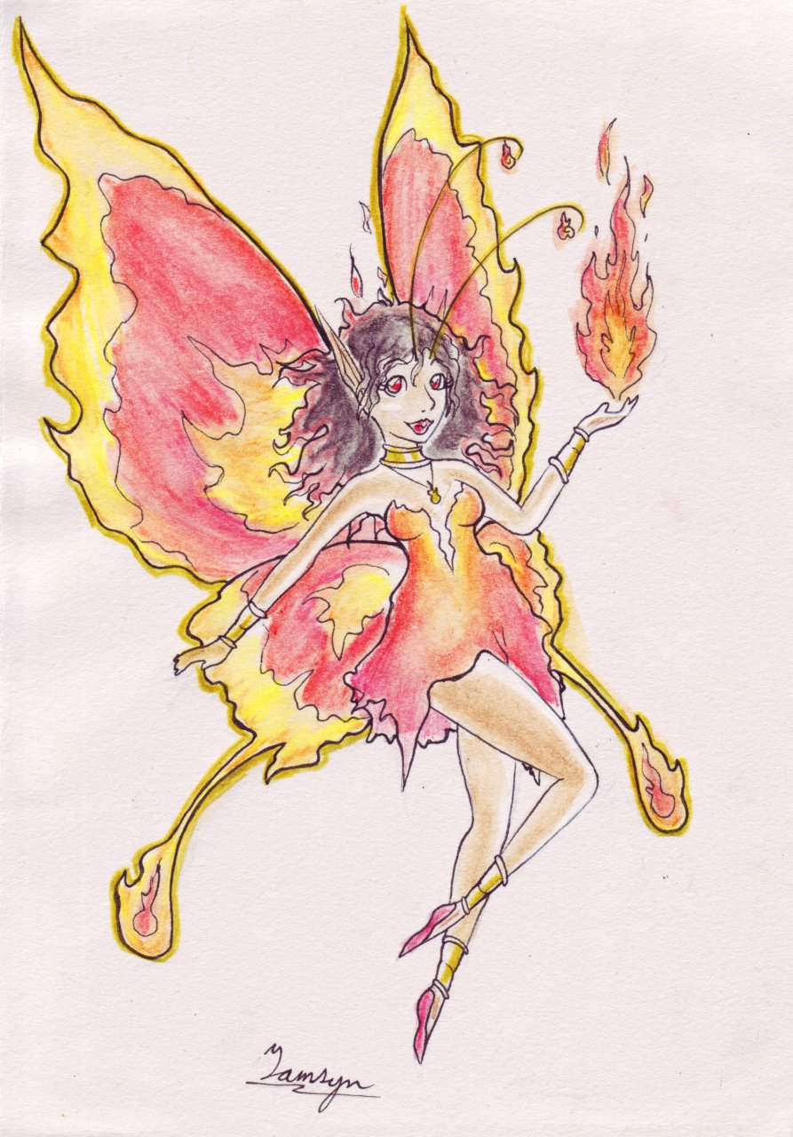 Fire Fairy - Traditional Commission