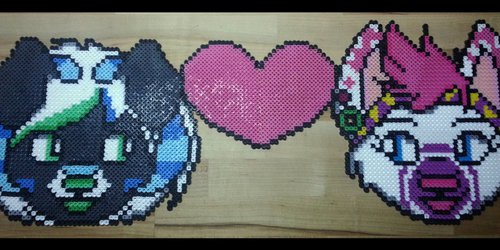 [TRADE] Misfit and Shylo Couple Perler Bead Badge