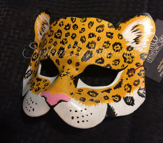 046. leopard leather mask