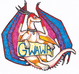 Stained Glass Style Fullbody Badge: Gwawr