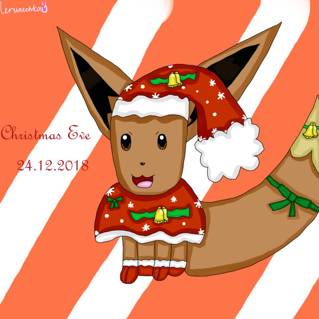 Christmas Eevee.Festive Eevee Weasyl