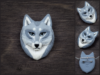 Pale gray wolf portrait badge - for sale