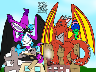 Monstrous Lounging +Flatcolored Commission+