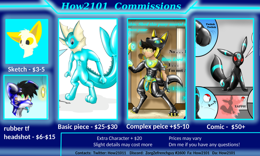 Official commissions sheet