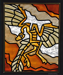 Archaeopteryx Faux Stained Glass (Indoor)