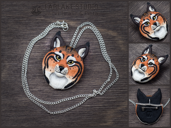 Red lynx portrait badge - for sale