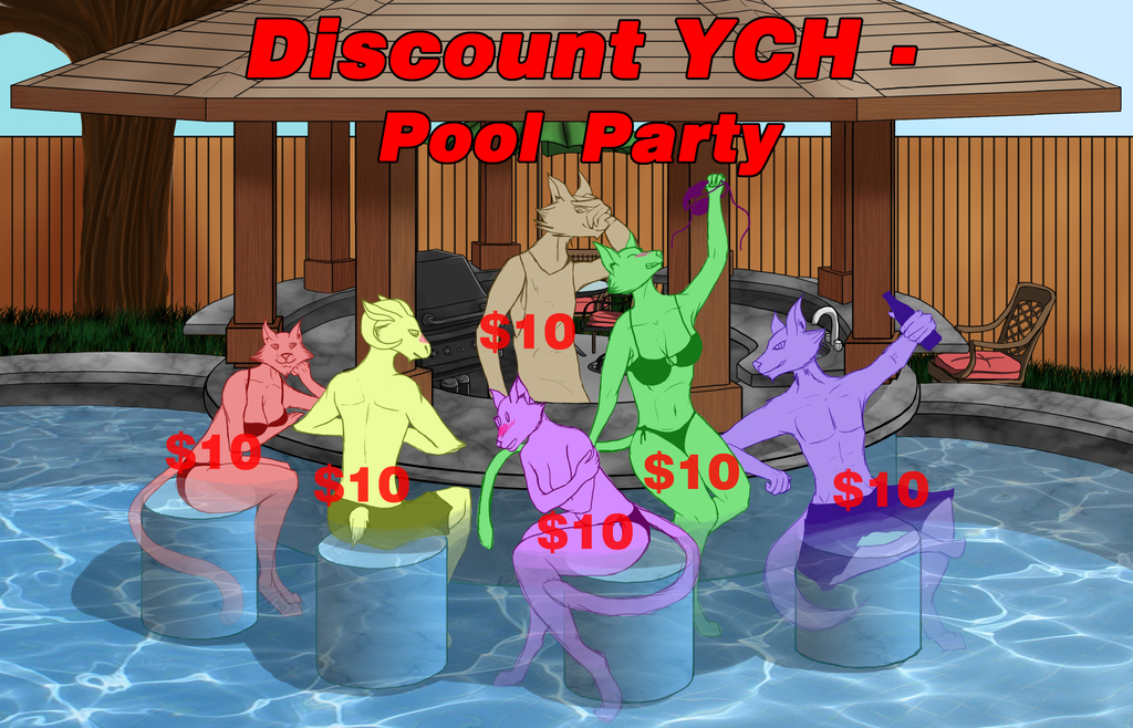 Discount YCH - Pool Party (Open) (6/6 slots)