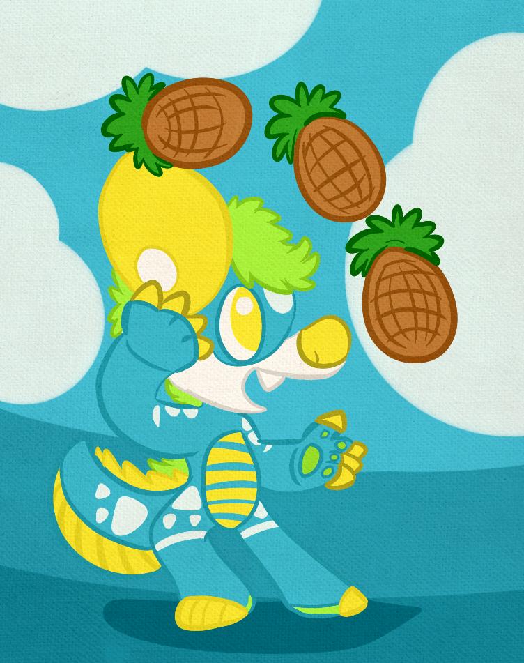 A Nishi GatorHyena juggles some pineapples.