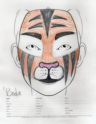Angrboda tiger makeup sketch