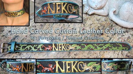 Hand Carved Custom Leather Collar