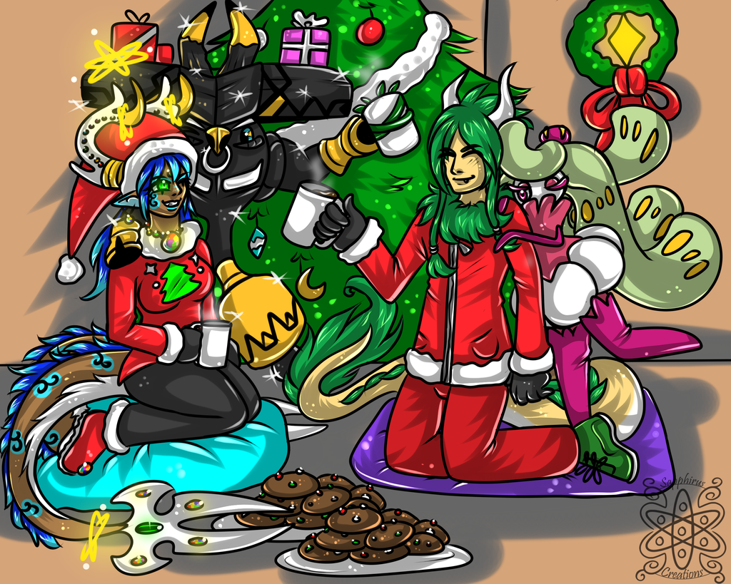 Holiday party +Cellshade Commission+