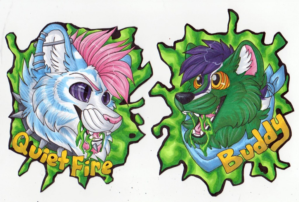 BLFC badges - QuietFire and Buddy