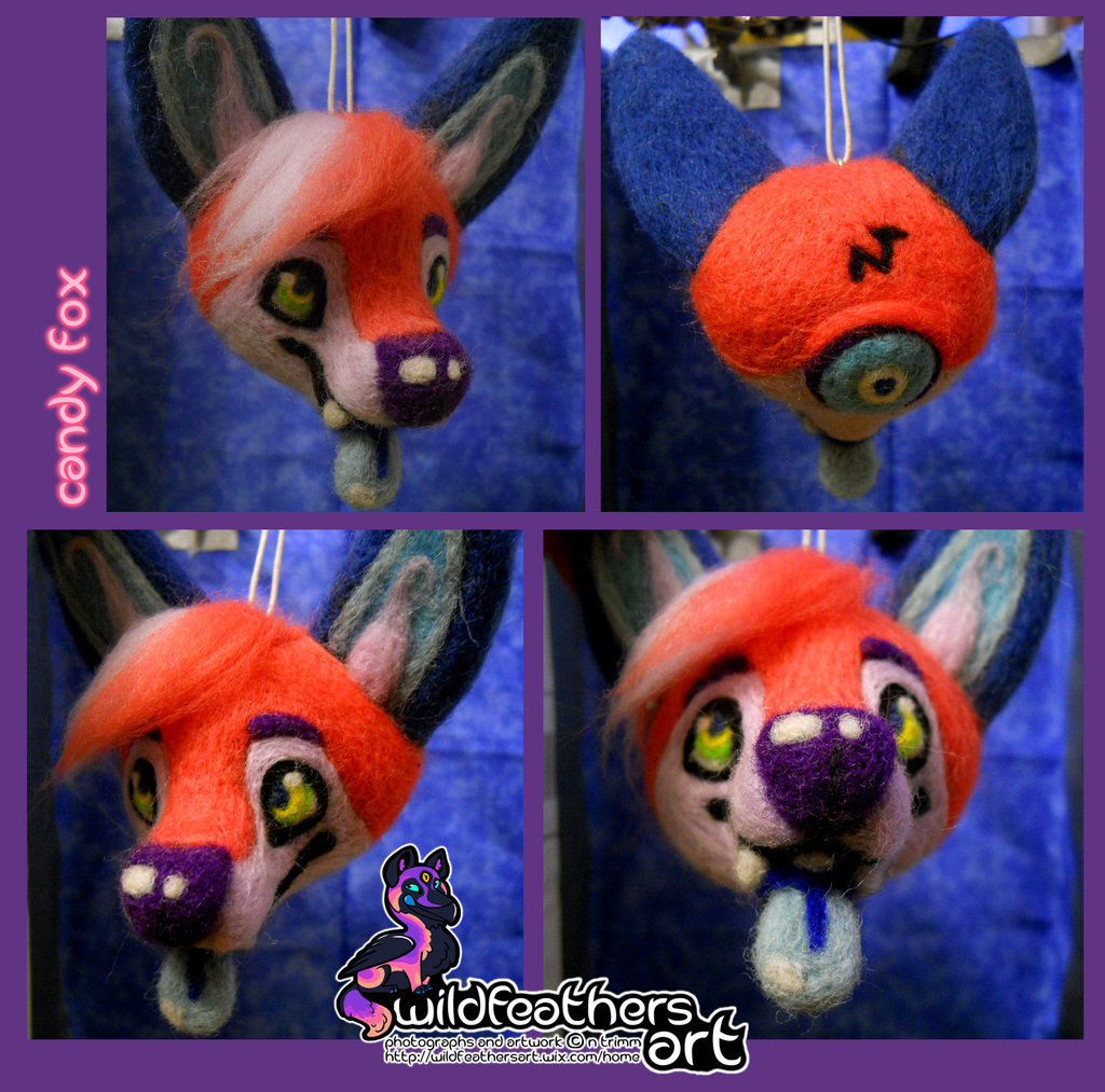Needlefelt Candy Fox Head Ornament