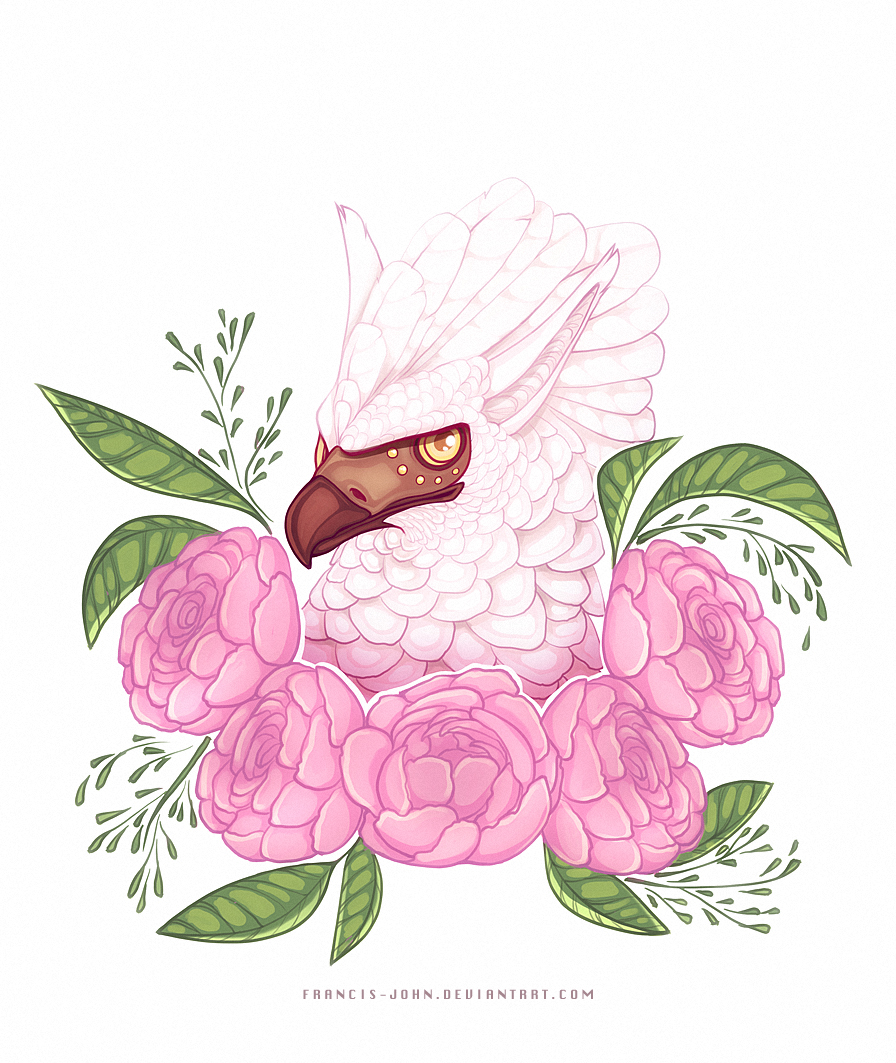 A Griffin and Pink Peonies