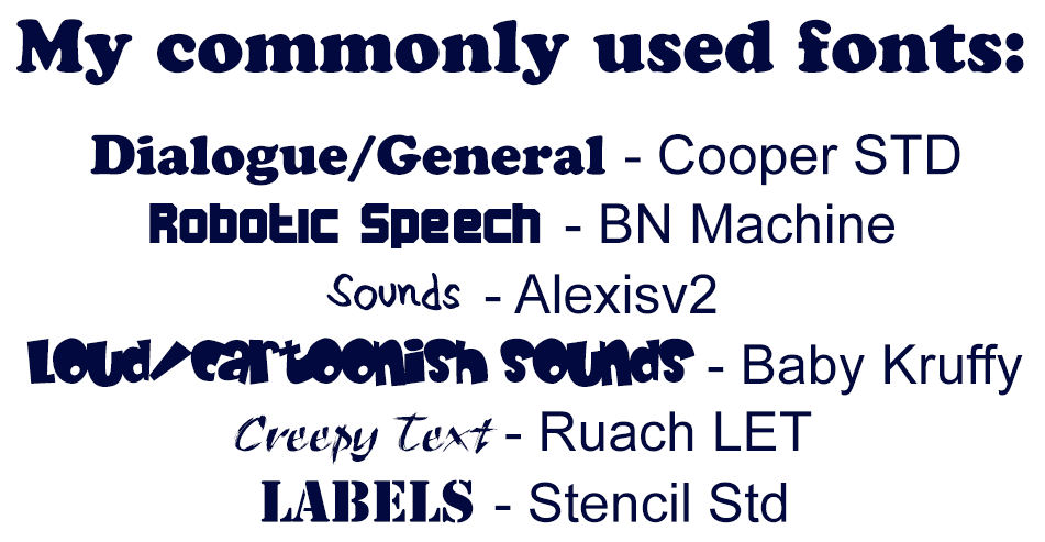 My commonly used fonts