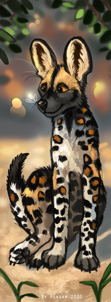 African wild dog bookmark