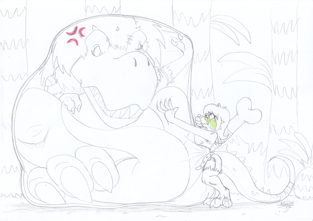 Dino Trouble [Vore, Inflation, Bursting]