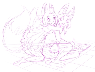 Ally and Nari Fennec Girls Hugging