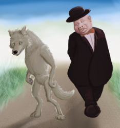 A wolf looks at his shadow in a dream
