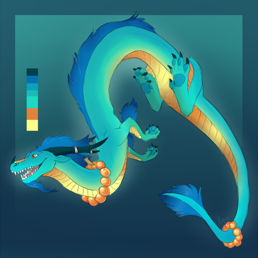 Golden Blue Eastern Dragon Design