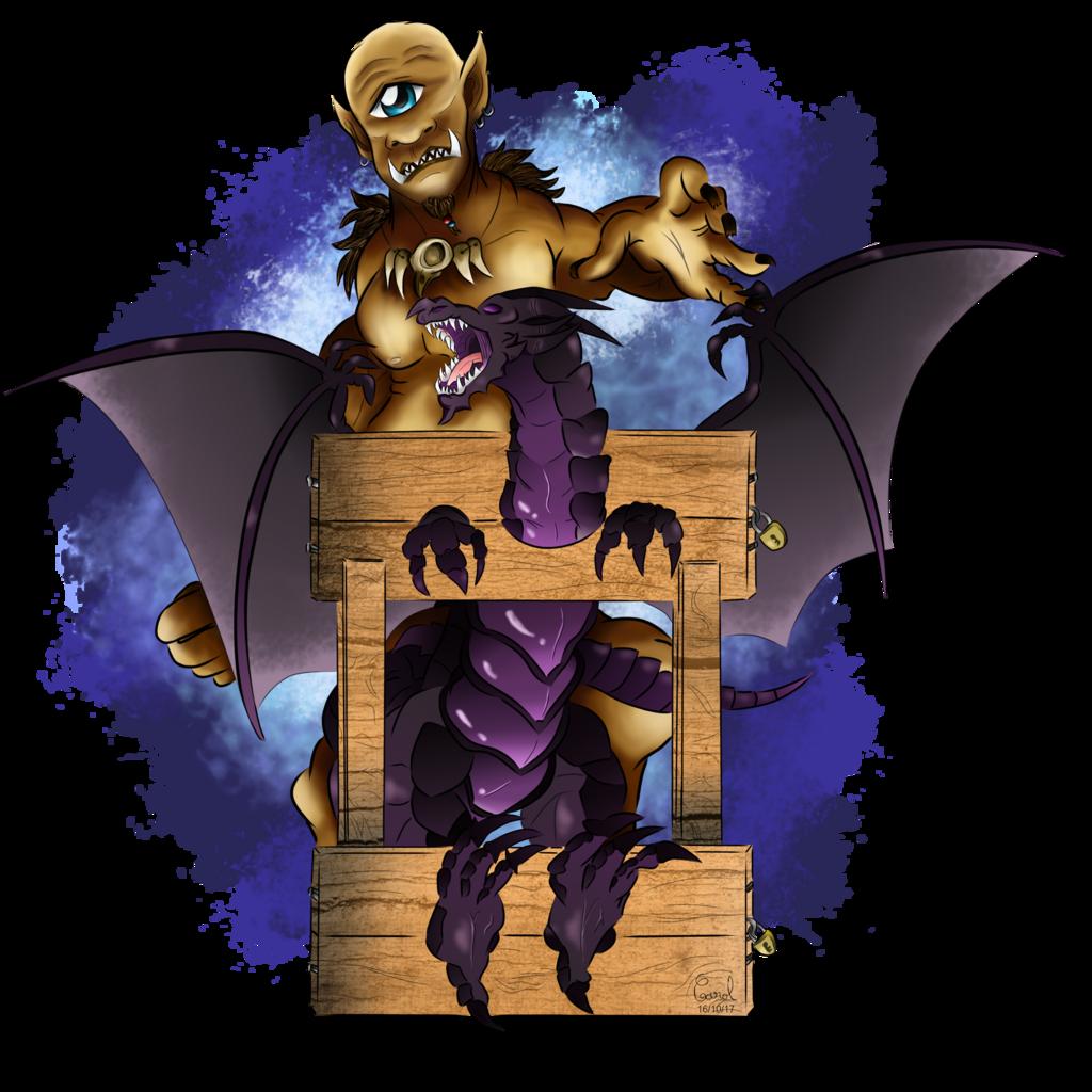 [ArtTrade] Dragon and cyclops