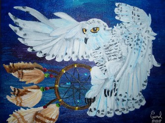 Snowy owl and dreamcatcher