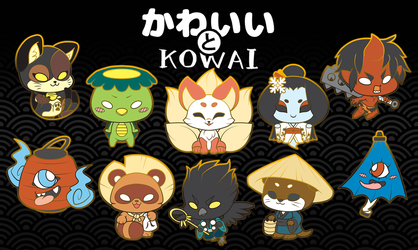 KAWAII TO KOWAI - Cute & Scary Japanese Lore Enamel Pins