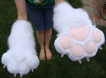 White and pink Puffy Paws