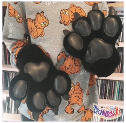 Black Fursuit Handpaws With Vinyl Pawpads and Claws