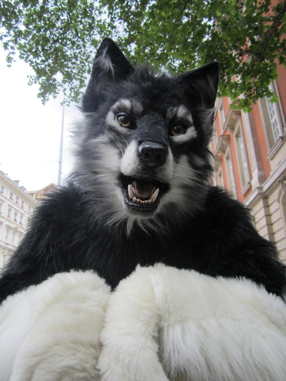 A smiling werewolf