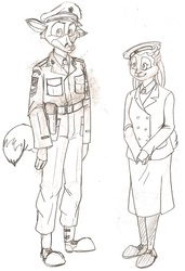 Sgt. Collins - RAMC and Ordinary Wren Aziza - WRNS
