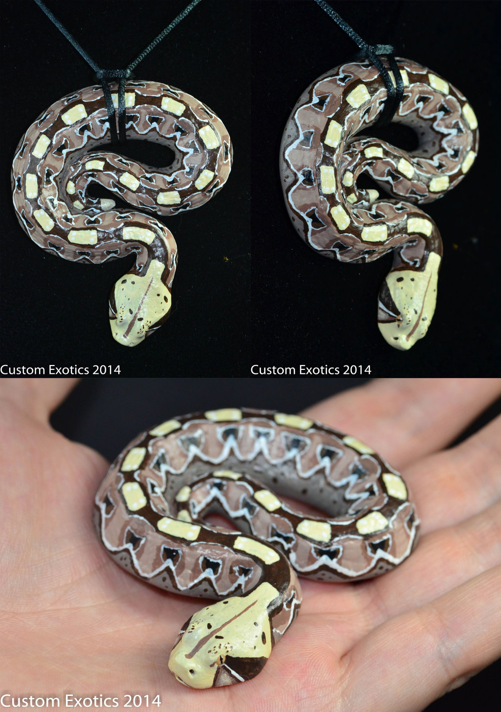 Most recent image: Polymer Clay Gaboon Viper Pendant version 2