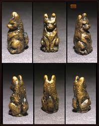 Cast Resin Gold Fox Dog