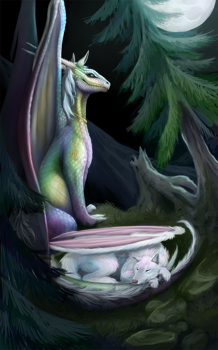 Dragon Vrghr in the Moonlight