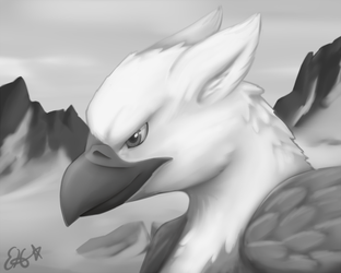 gryphon in grayscale