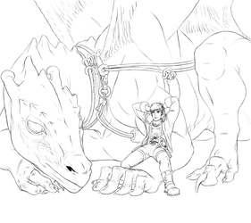 Pernese Dragon and Rider Lineart (2010)