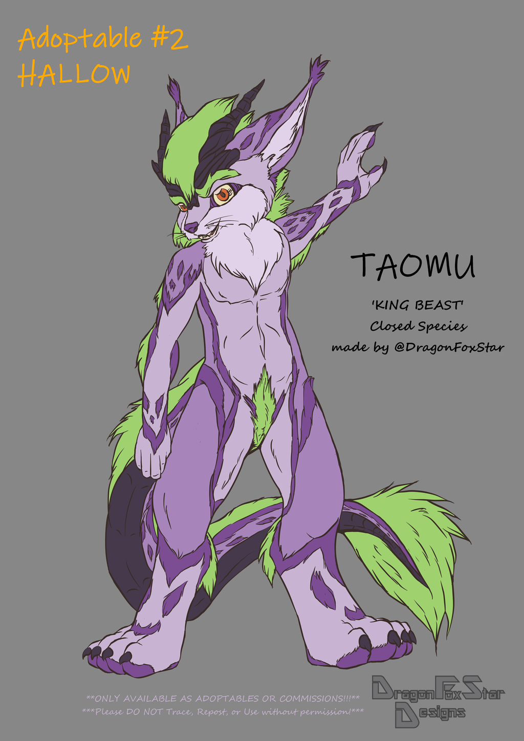 Most recent image: TAOMU (Closed Species) - Adoptable #2 Hallow