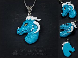 Blue dragoness, portrait pendant - for sale