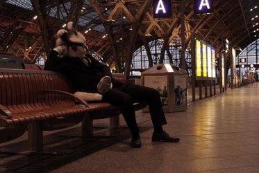 On the platform Leipzig central station