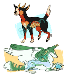 Goatdog and Pearlfox - Paypal Adoptables - SOLD
