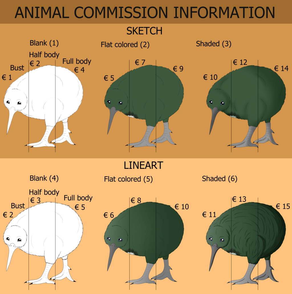 Most recent image: Animal commission sheet 2020
