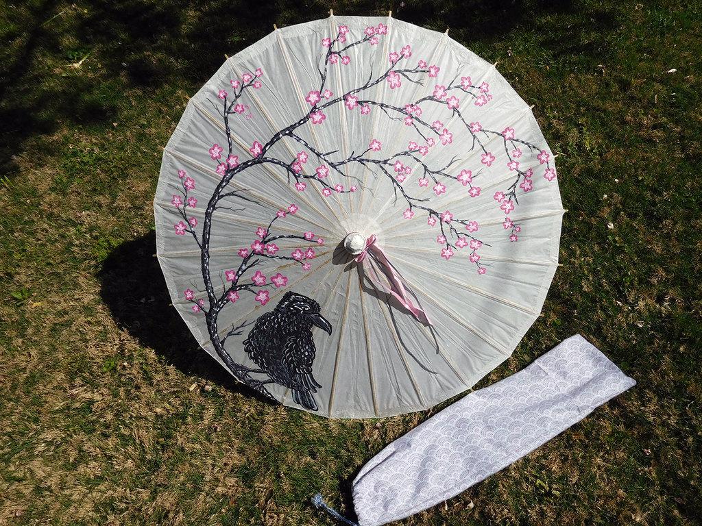 Raven & Cherry Blossoms Parasol